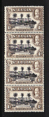 ST LUCIA 1936 1d PERF 13x12 IN COIL JOIN STRIP SG 114a MNH.