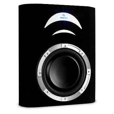 "Subwoofer Plano Coche 10"" 25Cm Woofer Doble Led Azul 500W Max Auto Bass Reflex"
