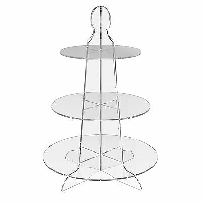 3 Tier Round Cup Cake Stand Wedding Birthday Party Acrylic Cupcake Display