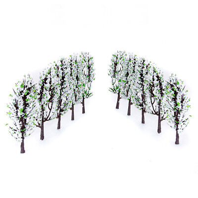 20pcs Model Tree w/ White & Green Flowers Layout Diorama Scenery 1:200 Scale
