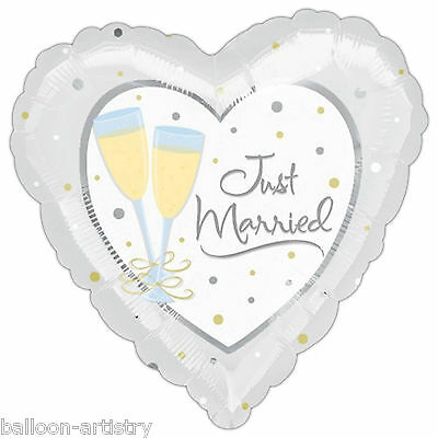 "18"" Just Married Wedding Day Champagne Toast Heart Party Foil Balloon"