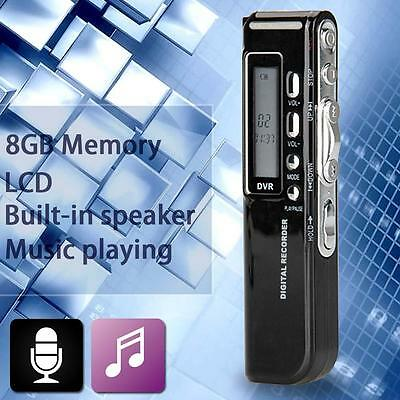 Rechargeable 8GB 650Hr Digital Audio Sound Recorder Dictaphone MP3 Player Hot WT