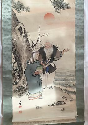 Antique Japanese Signed Hanging Scroll Painting Silk Old Man & Woman at Sunset