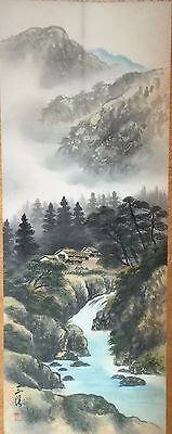 Antique Japanese Signed Hanging Scroll Painting Silk Boxed Farm House Farmer