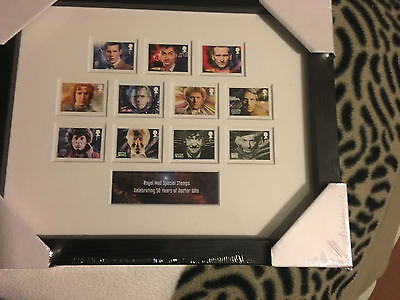 Doctor who 50th annniversary 11 doctors   Royal  mail  stamps   framed