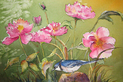 Bird Playing In The Peonies 18x12 Vintage Art Print Poster by Kate Wyman