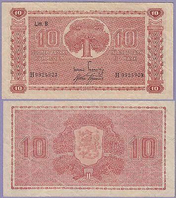 Finland 10 Markkaa Banknote 1945 Very Fine Condition Cat#85-5903