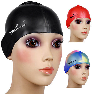 Flexible Silicone Swimming Cap Bathing Hats Waterproof Unisex Adult Elasticity