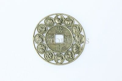 Lucky Chinese Zodiac Feng Shui Auspicious Coins Amulet Protection 6H9