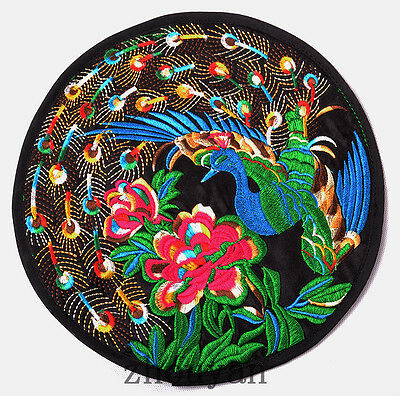 Finished Chinese Vintage Peacock Quilt Fabric Panel Embroidery Patch