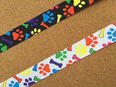 """7/8"""" (22 mm) Wide Colorful Animal Paw Prints with Dog Bones Grosgrain Ribbon"""