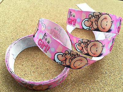 "7/8"" (22 mm) Wide Pink It's a Girl Printed Baby Shower Party Grosgrain Ribbon"