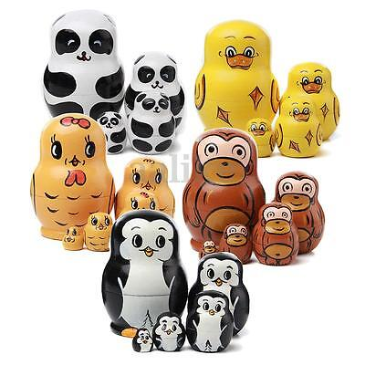 New 5PCS Set Wooden Russian Nesting Dolls Cute Animal Hand Painted Gift Toy