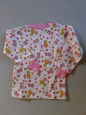 Vintage retro true 60s 2 yo unused girls childrens  warm fleecy lined top bears