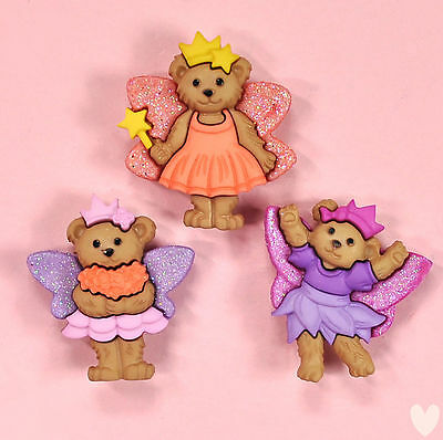 DRESS IT UP Buttons Fairy Bears 8297 - Embellishment  - Xmas Garden