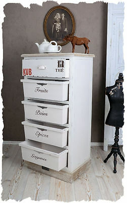 CHEST OF DRAWERS Country house style WHITE CABINET Shabby Chic Wooden dresser