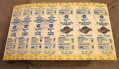 1992 Milwaukee Brewers World Series Phantom Ticket Sheet