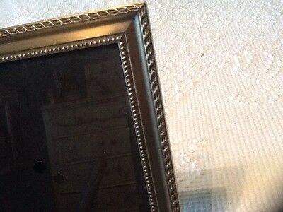 1997 BURNES of BOSTON PICTURE FRAME 8X10 BRUSHED BRASS GOLD COLOR BEADED ROPING