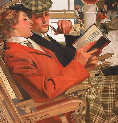 "J C Leyendecker Book Print ""on A Cruise"" Young Stylish Couple Lounge Deck Chairs"