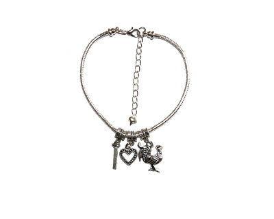 Hotwife Anklet 'I <3 COCK' Symbol Euro Ankle Chain Love Swinger Fetish Lifestyle