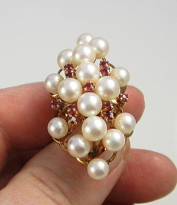 Estate Huge Vintage Raspberry Red Ruby Pearl 14K Yellow Gold Grape Cluster Ring