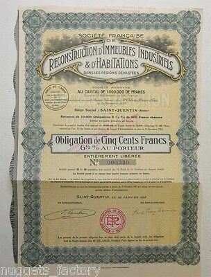 Obligation : Reconstruction d immeubles Industriels et Habitations 1922 ( 465 )