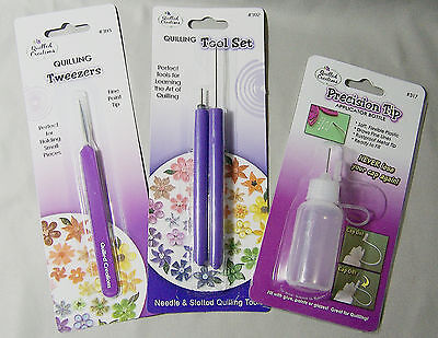 Quilled Creations Slotted Quilling Tools Needle Glue Applicator Bottle Tweezers