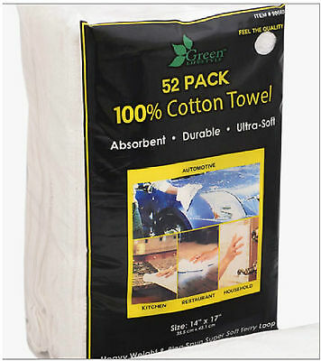 "52 Large Ultra Soft Absorbent 100% Cotton Terry Towel Cloths 14x17"" Car Cleaning"