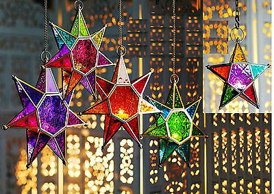 Moroccan Style Star Hanging Glass Lantern Tea Light Tealight Holder Multi Colour