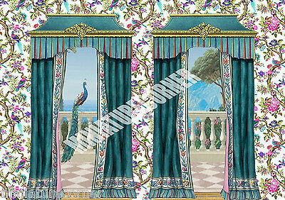 Dolls House Wallpaper Birds  Curtains 1/12th scale Quality Paper #04C