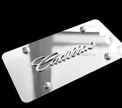 1 Brand New Cadillac 3d Vanity Mirror Chrome License Plate Ch