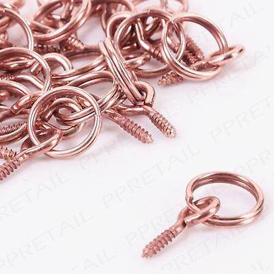 50x SMALL PICTURE FRAME SCREW EYE HOOK Photo/Canvas Wire Hanging Hoop Split Ring