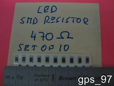 All -  SMD Resistor 470 Ohm for LED applications (Set of 10) - New