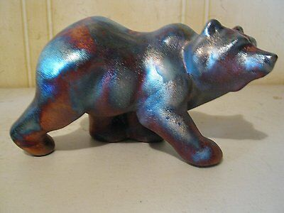 Grizzly Bear Statue Raku Ceramic Pottery Figurine OP025