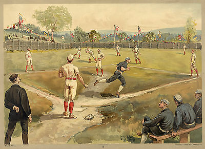 Images of Americana: Base Ball, c.1887 - Fine Art Reproduction