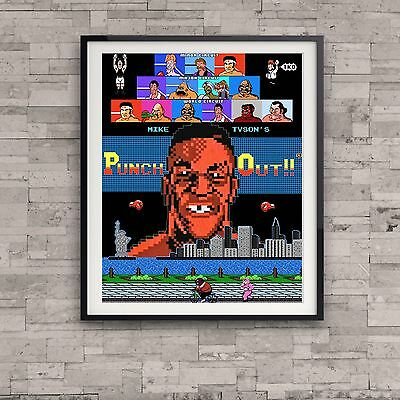 Mike Tyson's Punch Out Nintendo Retro Art Poster Video Game Vintage 8 bit Gift