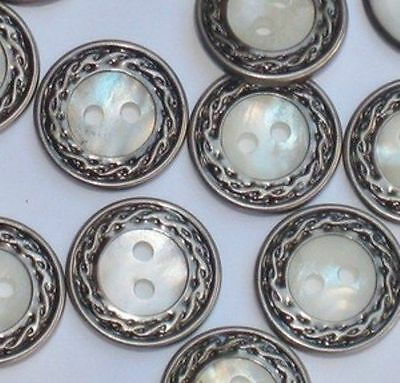 IRIDESCENT Set 12 Vintage New Buttons ORNATE Border in SILVER METAL