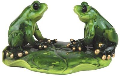 4.25 Inch Male and Female Frog Couples on A Green Lily Pad Figurines Statue