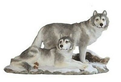 10.75 Inch Wolves in Snow Nature Wildlife Animal Statue Collectible Wild Wolf