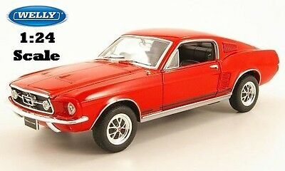1967 Ford Mustang GT| RED| WELLY, 22522, NEW, DIECAST MODEL CAR 1:24 scale