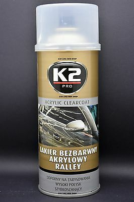 K2 Pro CLEAR COAT ACRYLIC RALLY Lacquer VARNISH Car HIGH GLOSS & QUALITY 400ml