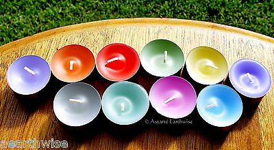 10 x PACK OF MULTI-COLOURED TEA LIGHTS Wicca Witch Pagan Spells Goth NON TOXIC
