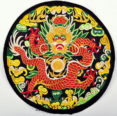 Finished Chinese Vintage Royal Dragon Quilt Fabric Embroidery Patch Painting =