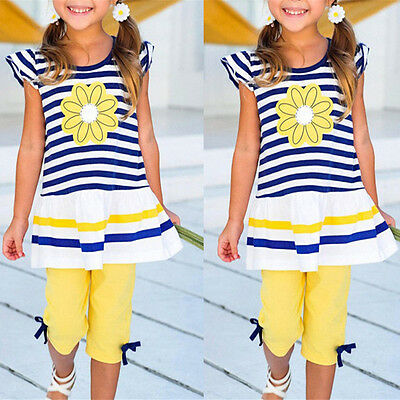 UK 2Pcs Girls Kids Flower T-Shirt Tops+Shorts Pants Outfits Summer Clothes