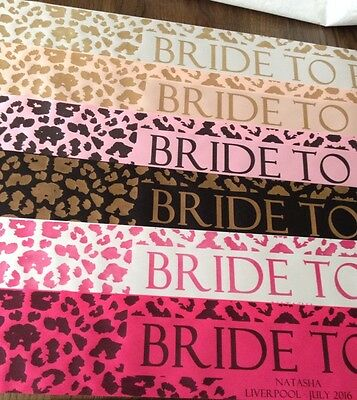 ROSE GOLD NEW Leopard Print Bride To Be Hen Party Sashes STUNNING!!!