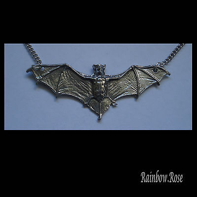 Chain Necklace #1541 Pewter BAT (58mm x 25mm) silver tone