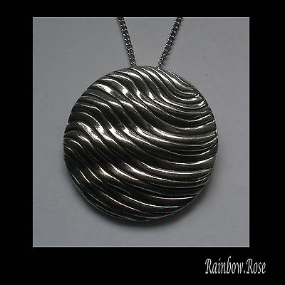 Chain Necklace #3021 Pewter ENDLESS WAVE DISC 47mm x 47mm Silver Tone