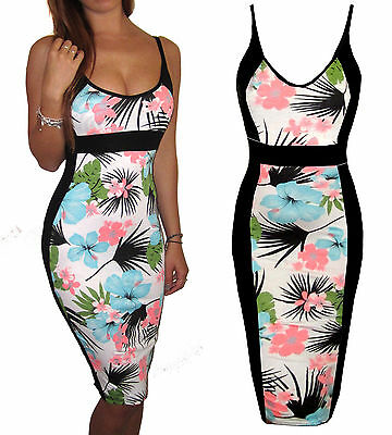 Womens Ladies UK Jersey Midi Party Summer Strappy Dress Floral Size 8 10 12 14