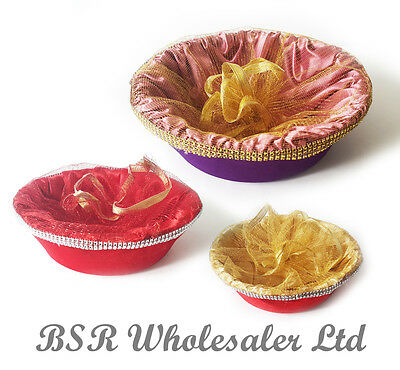 New Wedding Indian Gift Ceremony Birthday Party Flower Round Basket - 3 Colours