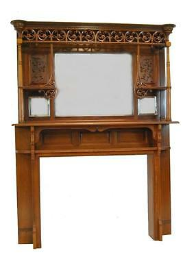 Cherry Eastlake Mantle w Beveled Mirrors (3), Candle Shelves (2) and Scrollwork